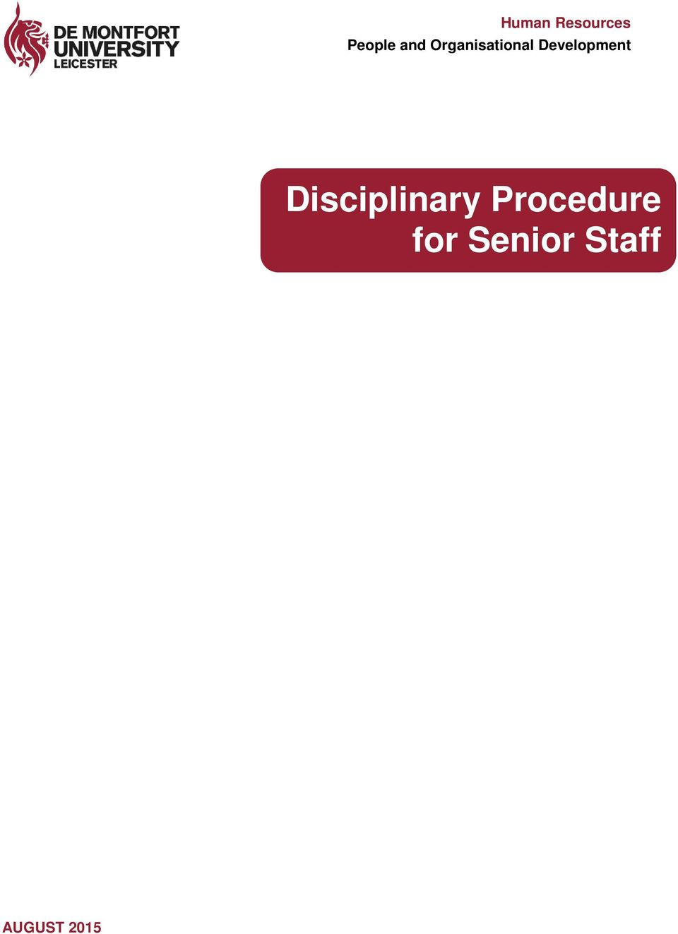 Disciplinary Procedure for