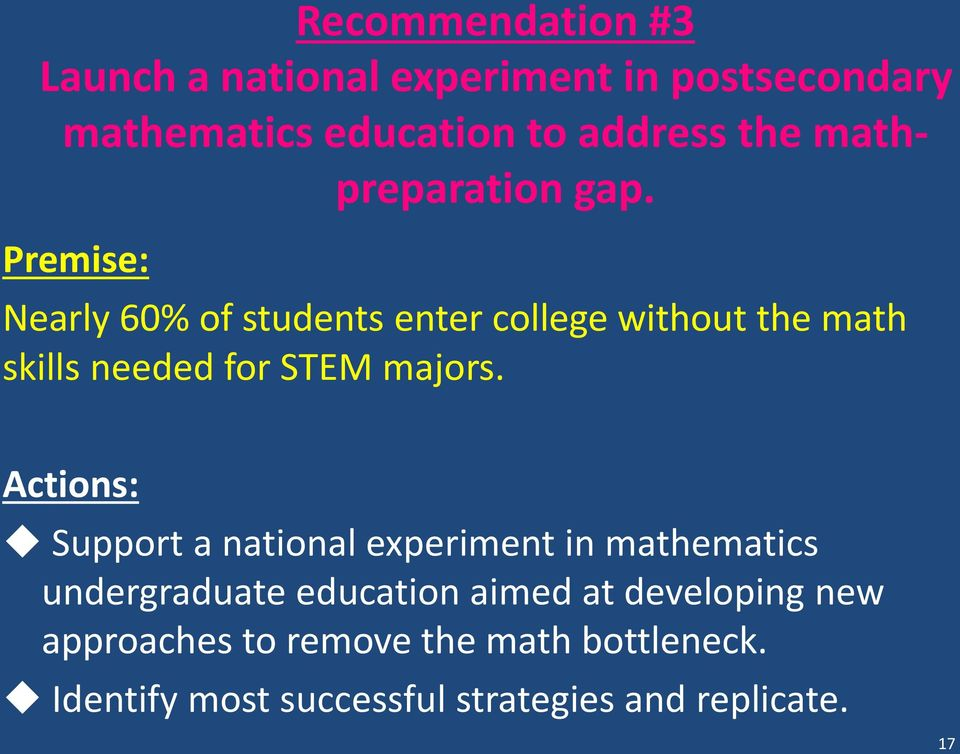 Premise: Nearly 60% of students enter college without the math skills needed for STEM majors.