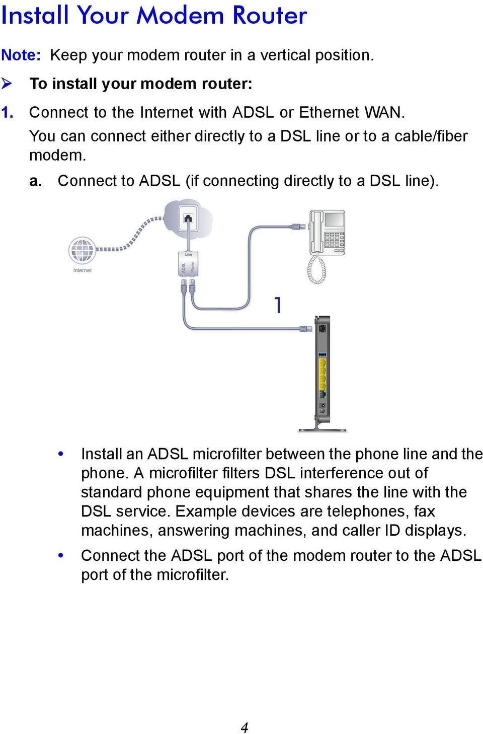Internet 1 Install an ADSL microfilter between the phone line and the phone.
