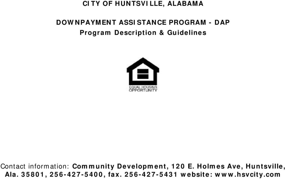 Community Development, 120 E. Holmes Ave, Huntsville, Ala.