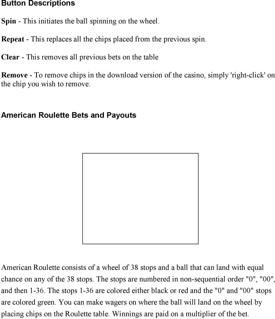 American Roulette Bets and Payouts American Roulette consists of a wheel of 38 stops and a ball that can land with equal chance on any of the 38 stops.