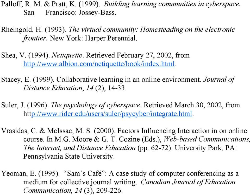 Collaborative learning in an online environment. Journal of Distance Education, 14 (2), 14-33. Suler, J. (1996). The psychology of cyberspace. Retrieved March 30, 2002, from http://www.rider.
