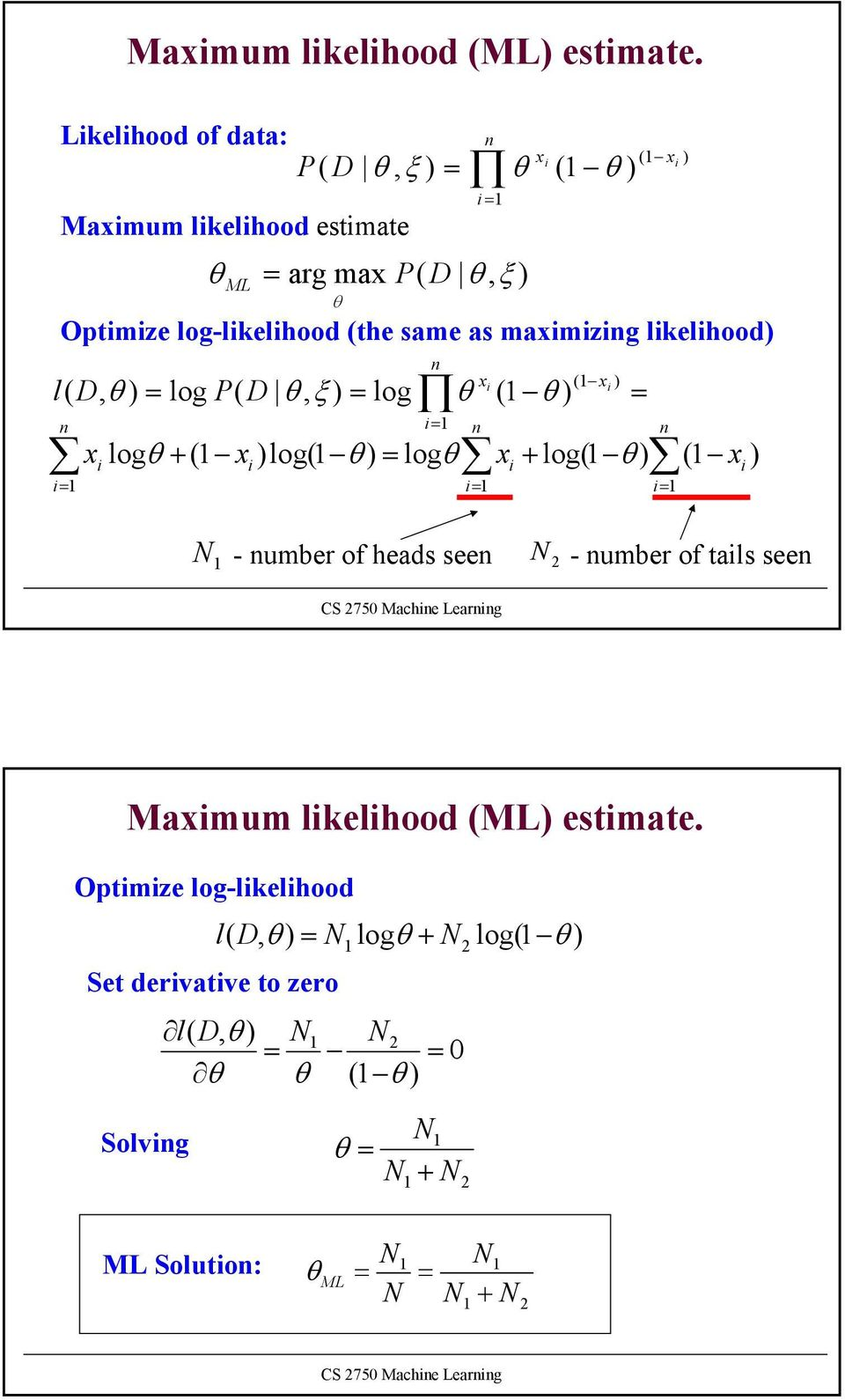 of tals seen (1 x Optmze log-lkelhood (the same as maxmzng lkelhood = 1 n x (1 x l( D, = log P( D, ξ = log (1 n = 1 x log +