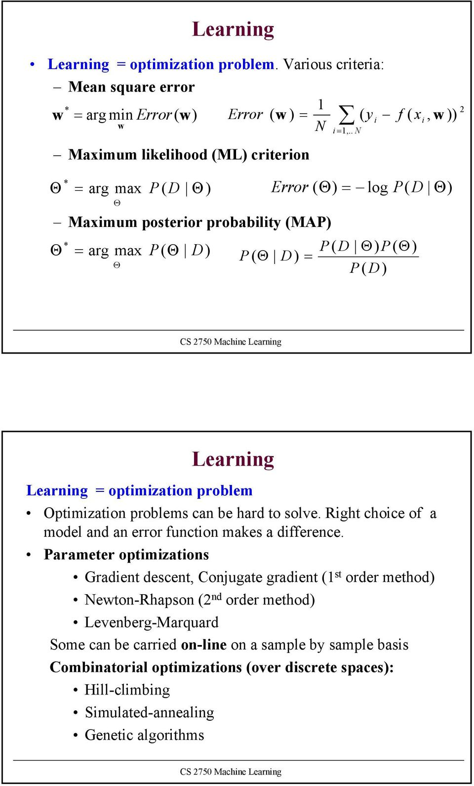posteror probablty (MAP Θ * = arg max P( Θ D P( Θ D = = 1,.. N P( D Θ P( Θ P D Θ ( 2 Learnng Learnng = optmzaton problem Optmzaton problems can be hard to solve.