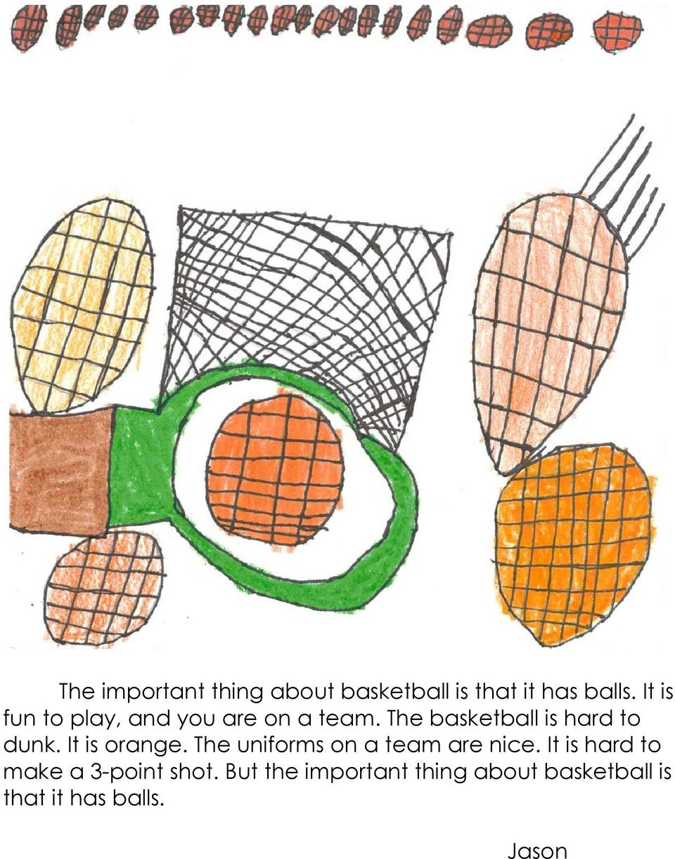 The basketball is hard to dunk. It is orange.