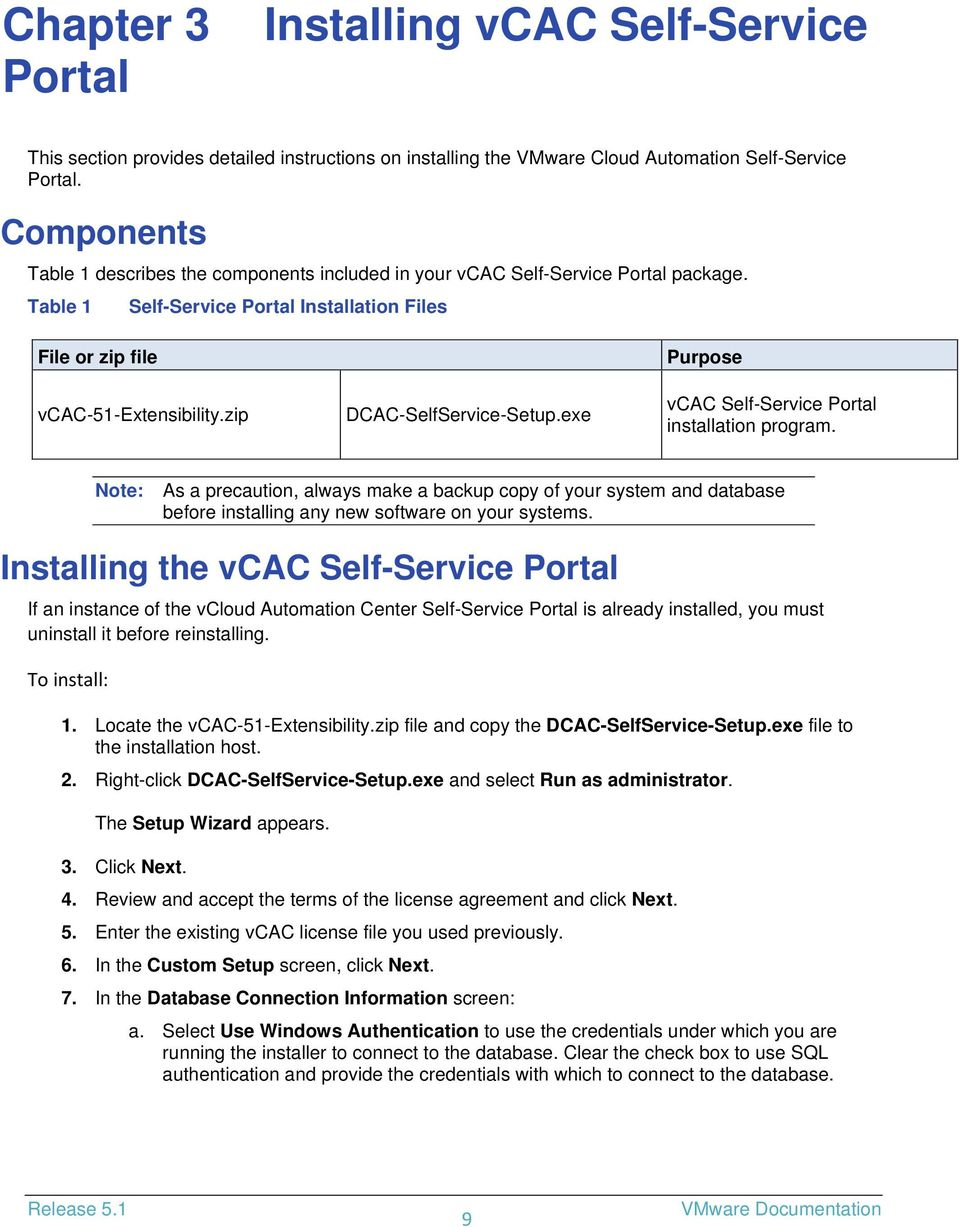 zip DCAC-SelfService-Setup.exe Purpose vcac Self-Service Portal installation program.