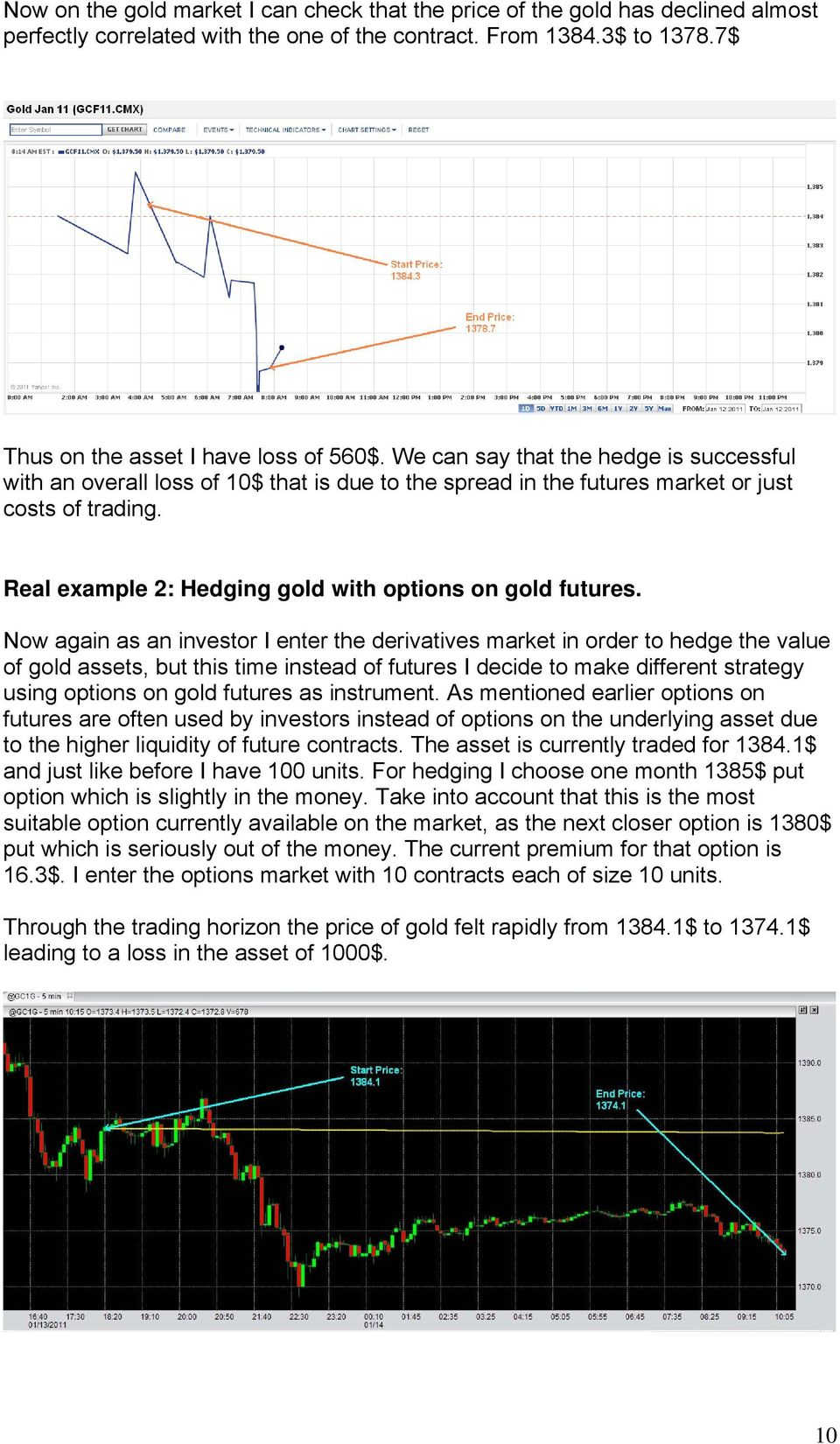 Now again as an investor I enter the derivatives market in order to hedge the value of gold assets, but this time instead of futures I decide to make different strategy using options on gold futures