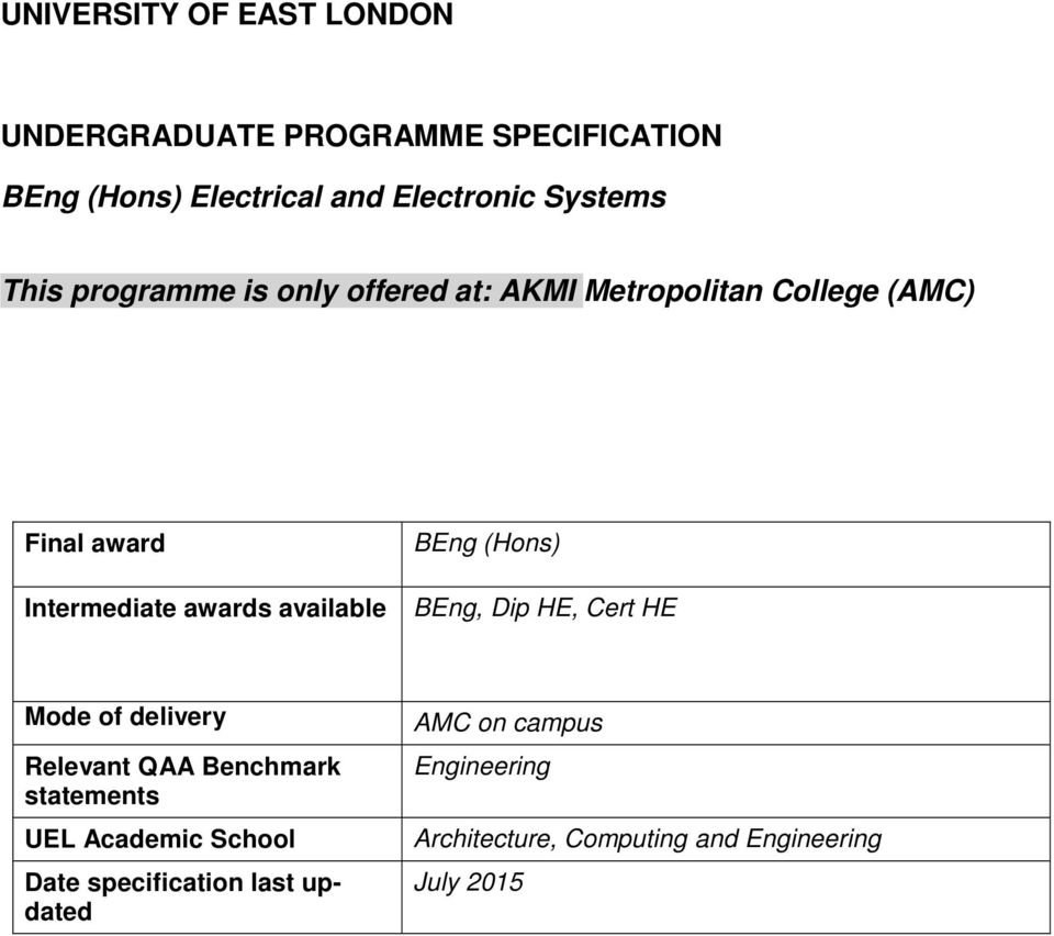 Intermediate awards available BEng, Dip HE, Cert HE Mode of delivery Relevant QAA Benchmark statements UEL