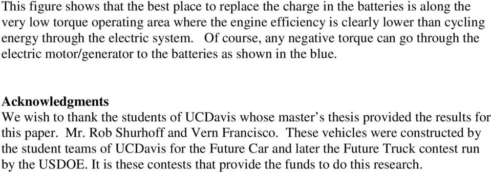 Acknowledgments We wish to thank the students of UCDavis whose master s thesis provided the results for this paper. Mr. Rob Shurhoff and Vern Francisco.