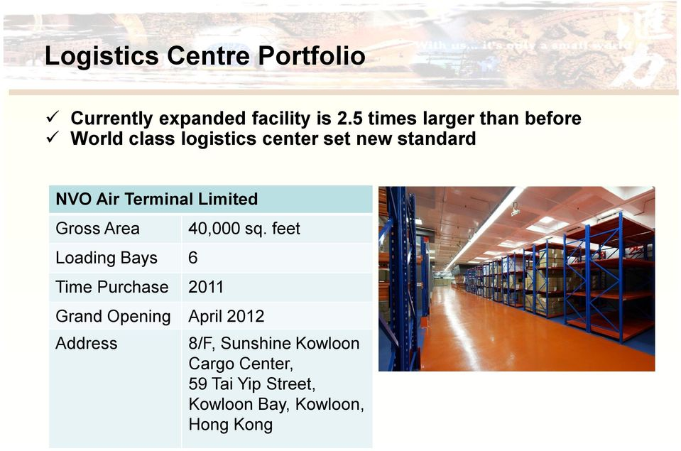 Terminal Limited Gross Area Loading Bays 6 Time Purchase 2011 40,000 sq.