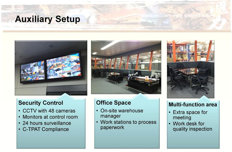 On-site warehouse manager Work stations to process paperwork