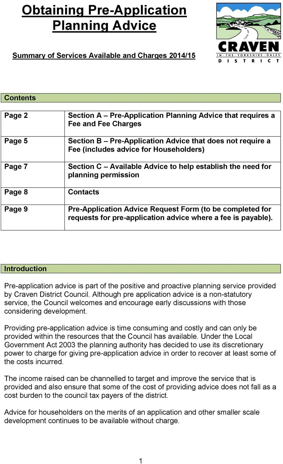 Pre-Application Advice Request Form (to be completed for requests for pre-application advice where a fee is payable).