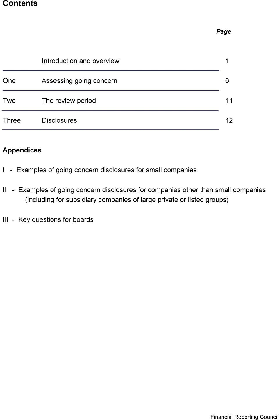 Examples of going concern disclosures for companies other than small companies (including for