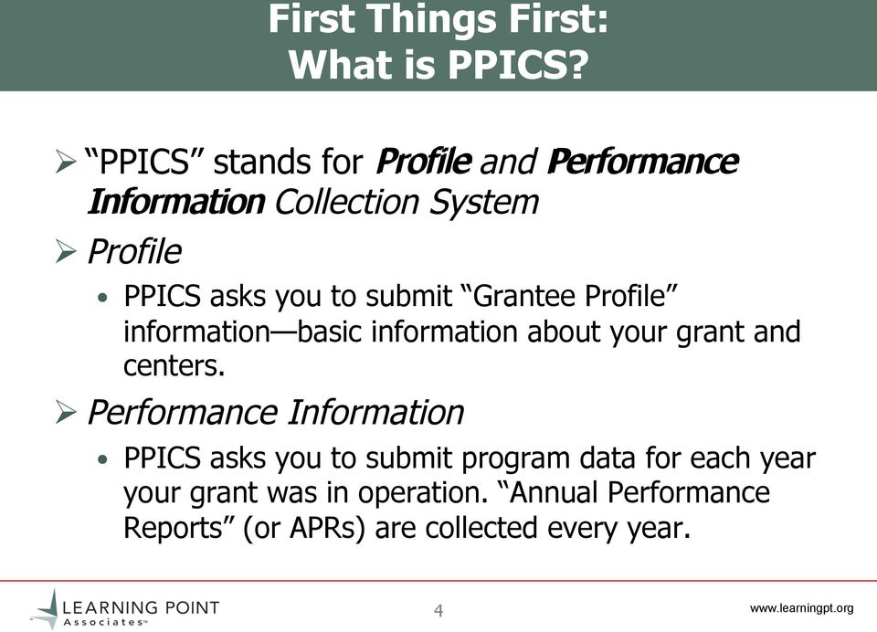 to submit Grantee Profile information basic information about your grant and centers.