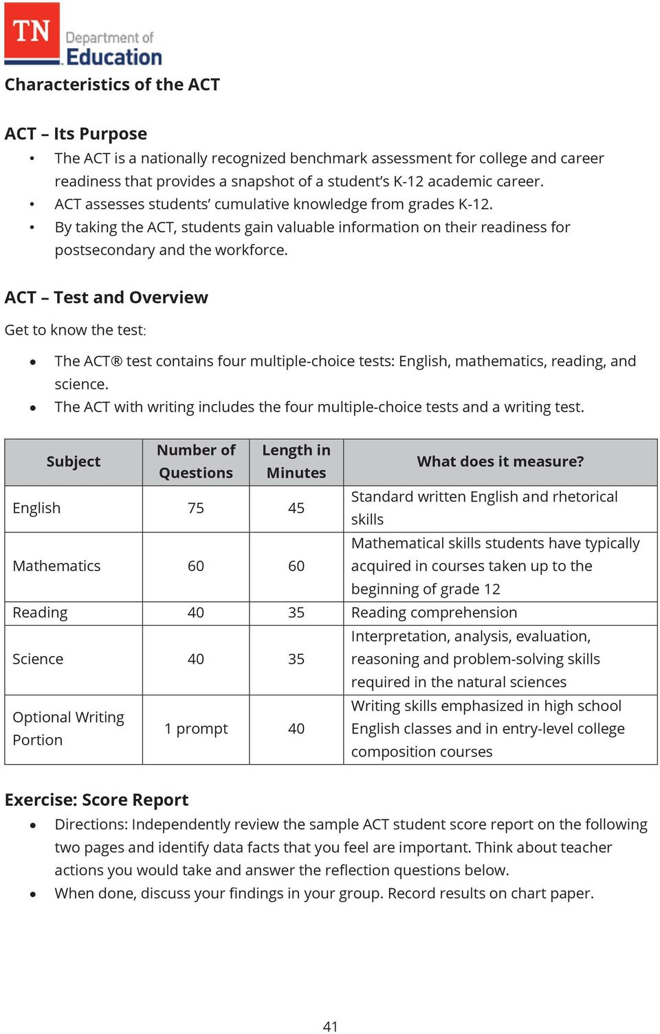 ACT Test and Overview Get to know the test The ACT test contains four multiple-choice tests: English, mathematics, reading, and science.