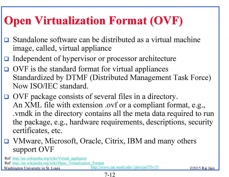 An XML file with extension.ovf or a compliant format, e.g.,.vmdk in the directory contains all the meta data required to run the package, e.g., hardware requirements, descriptions, security certificates, etc.