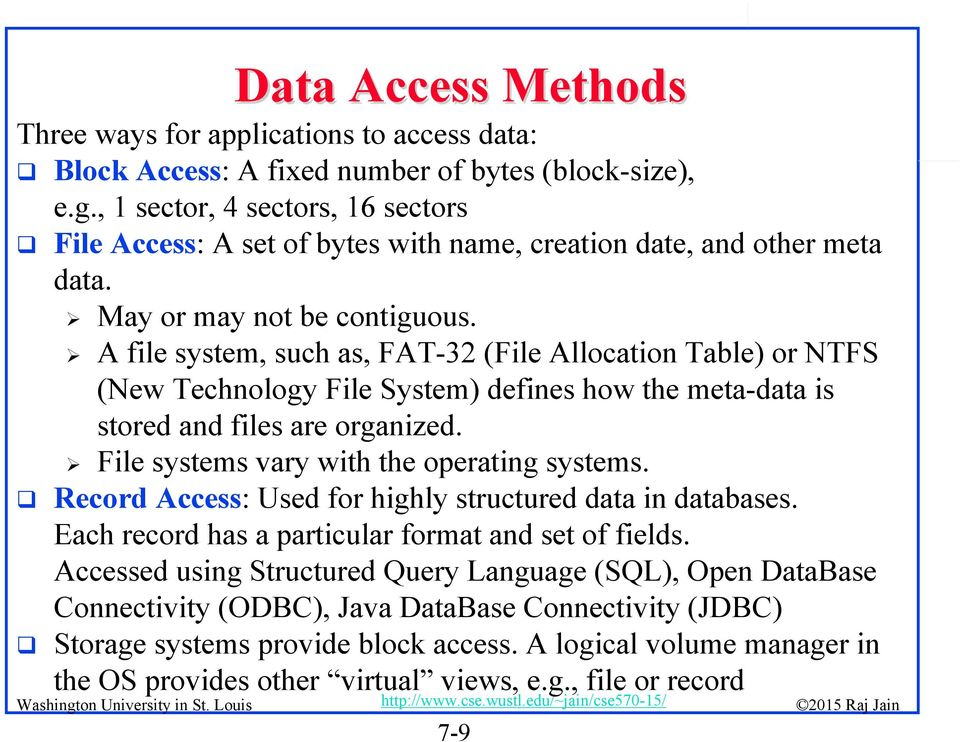 A file system, such as, FAT-32 (File Allocation Table) or NTFS (New Technology File System) defines how the meta-data is stored and files are organized. File systems vary with the operating systems.