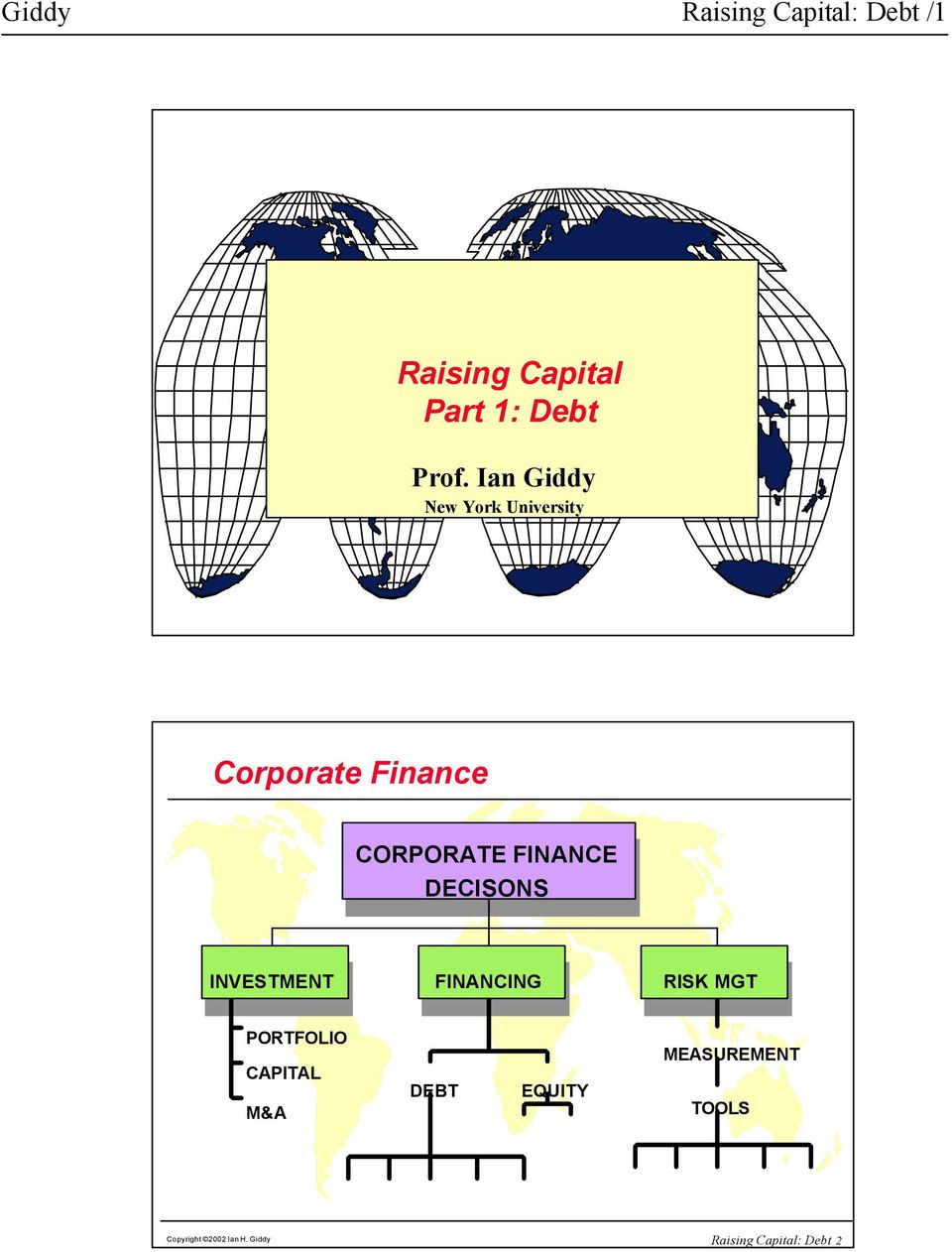 DECISONS INVESTMENT FINANCING RISK MGT MGT PORTFOLIO CAPITAL M&A DEBT