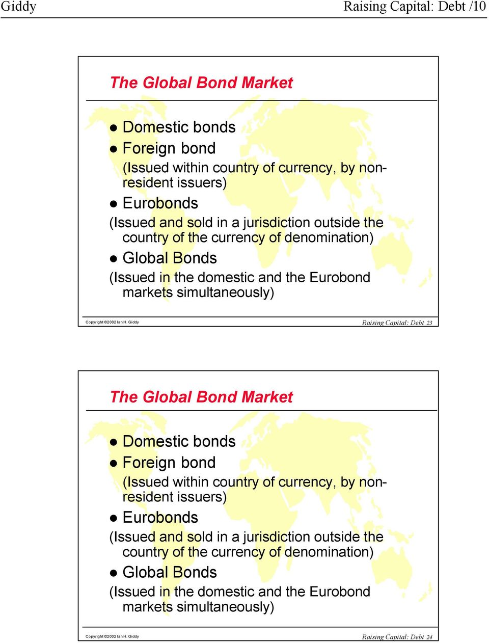Giddy Raising Capital: Debt 23 The Global Bond Market Domestic bonds Foreign bond (Issued within country of currency, by nonresident issuers) Eurobonds (Issued and sold in a