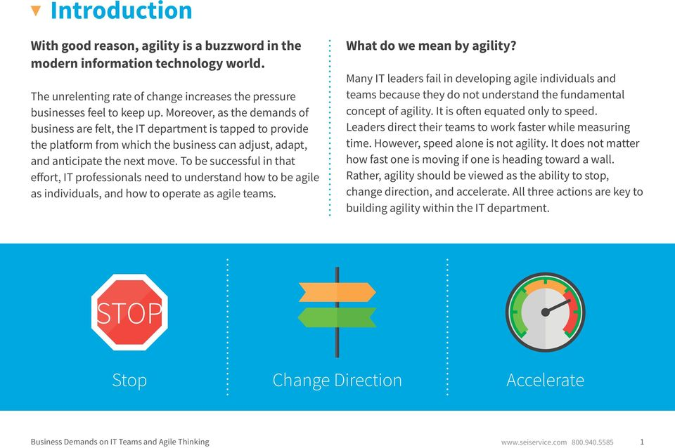 To be successful in that effort, IT professionals need to understand how to be agile as individuals, and how to operate as agile teams. What do we mean by agility?