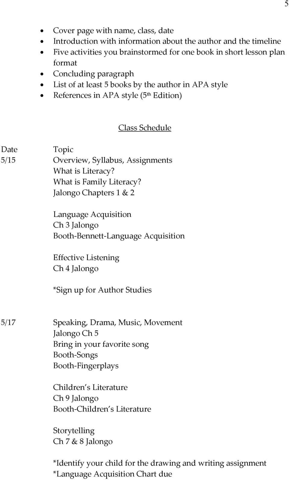 Jalongo Chapters 1 & 2 Language Acquisition Ch 3 Jalongo Booth-Bennett-Language Acquisition Effective Listening Ch 4 Jalongo *Sign up for Author Studies 5/17 Speaking, Drama, Music, Movement Jalongo