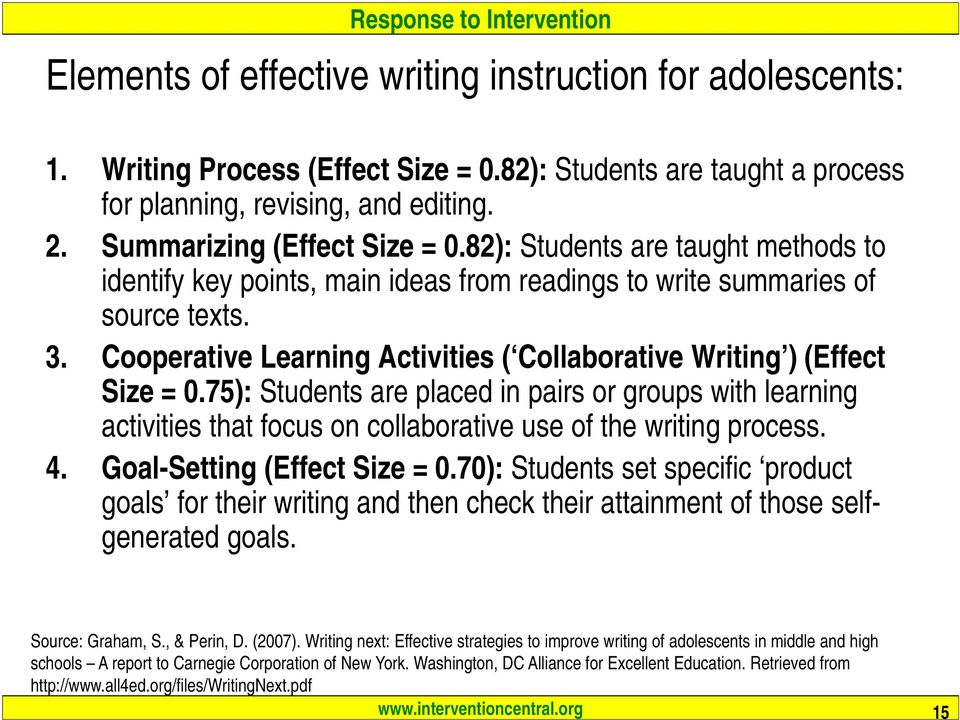 75): Students are placed in pairs or groups with learning activities that focus on collaborative use of the writing process. 4. Goal-Setting (Effect Size = 0.
