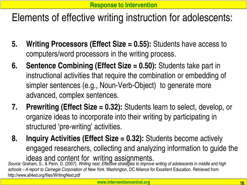 7. Prewriting (Effect Size = 0.32): Students learn to select, develop, or organize ideas to incorporate into their writing by participating in structured pre-writing activities. 8.