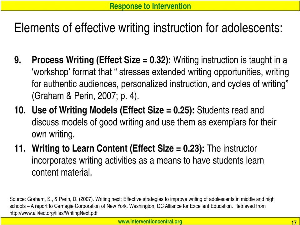 2007; p. 4). 10. Use of Writing Models (Effect Size = 0.25): Students read and discuss models of good writing and use them as exemplars for their own writing. 11.