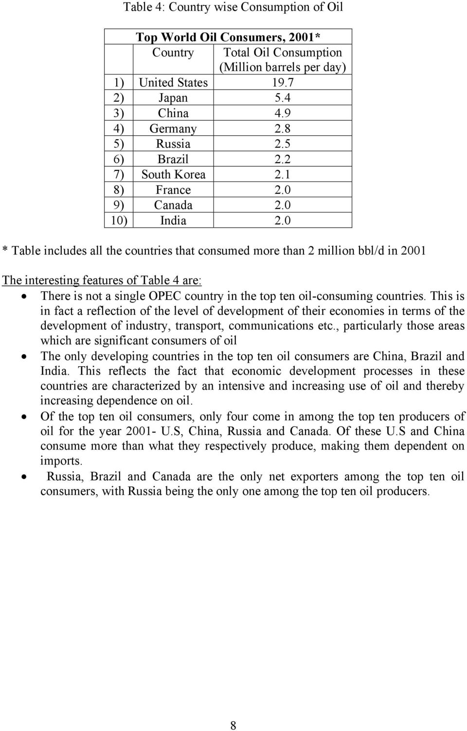 0 * Table includes all the countries that consumed more than 2 million bbl/d in 2001 The interesting features of Table 4 are: There is not a single OPEC country in the top ten oil-consuming countries.