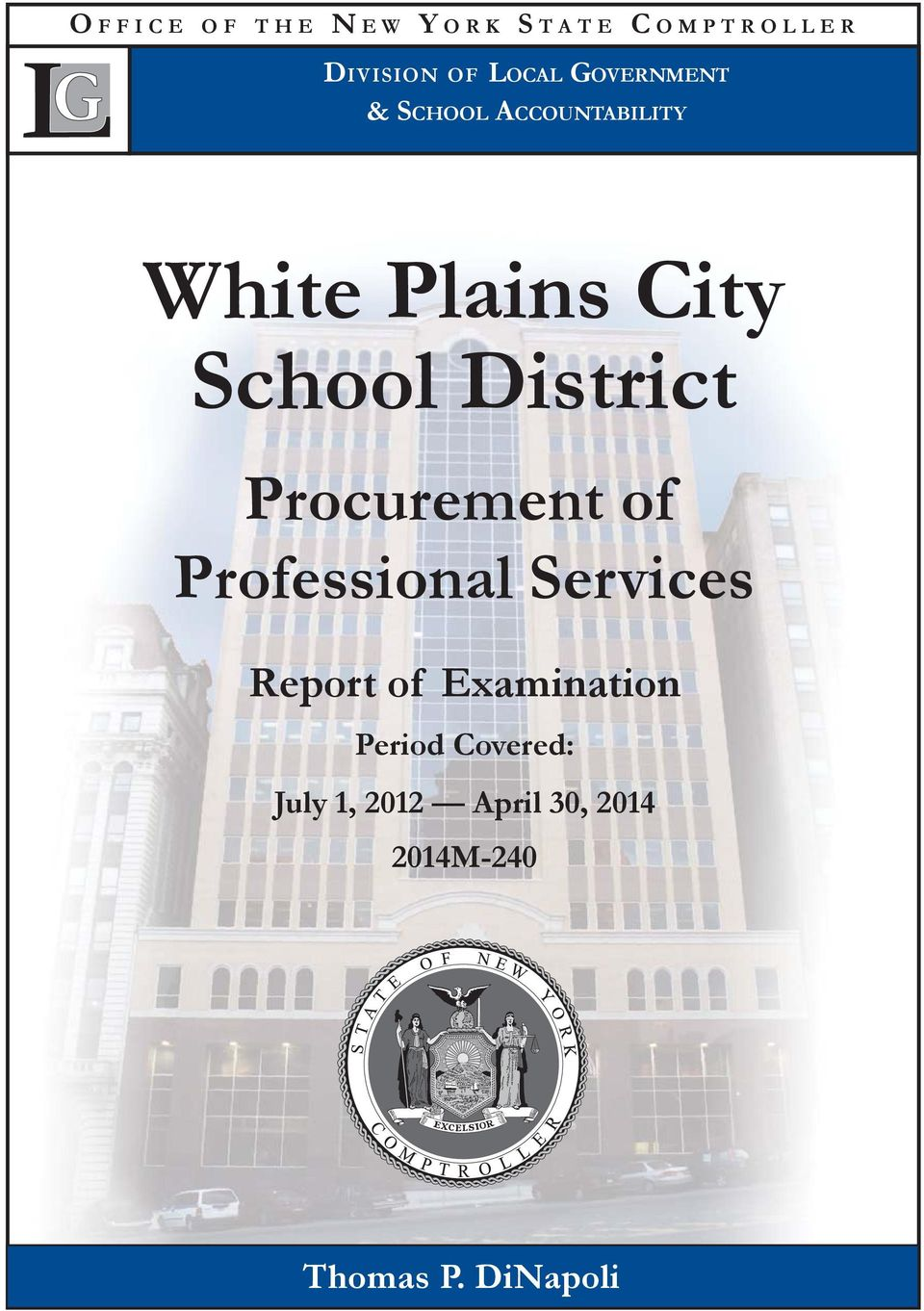 District Procurement of Professional Services Report of