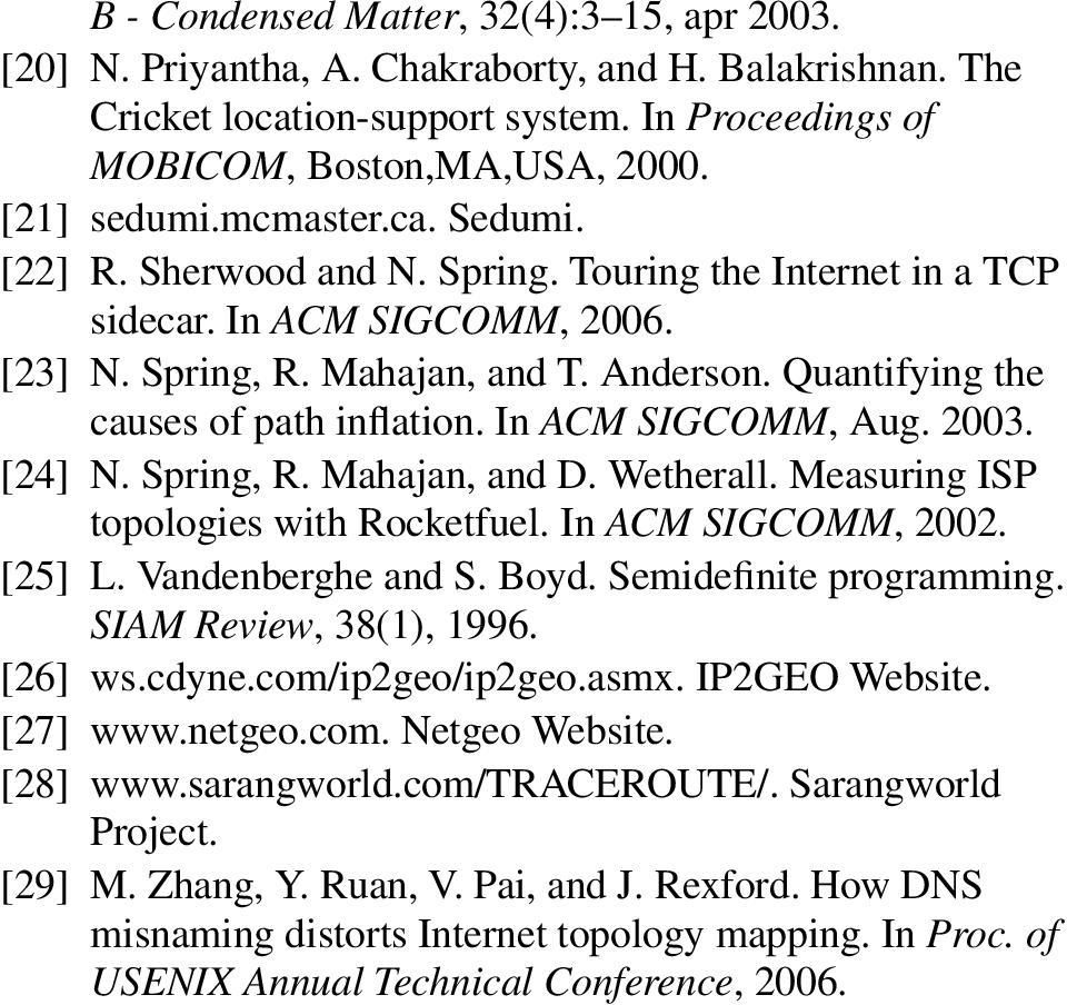 In ACM SIGCOMM, Aug. 2003. [24] N. Spring, R. Mahajan, and D. Wetherall. Measuring ISP topologies with Rocketfuel. In ACM SIGCOMM, 2002. [25] L. Vandenberghe and S. Boyd. Semidefinite programming.