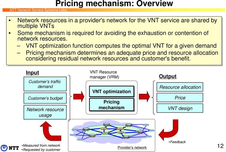 VNT optimization function computes the optimal VNT for a given demand Pricing mechanism determines an adequate price and resource allocation considering residual