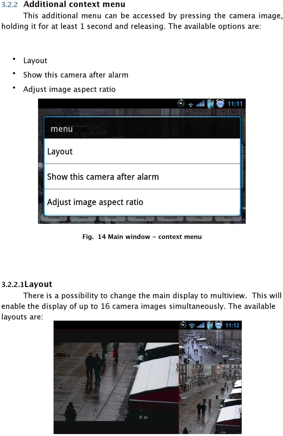 The available options are: Layout Show this camera after alarm Adjust image aspect ratio Fig.