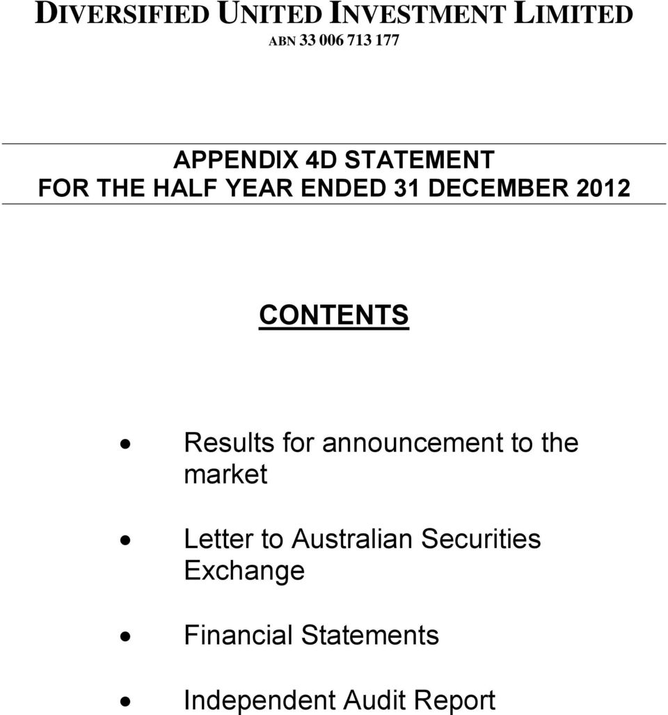 announcement to the market Letter to Australian