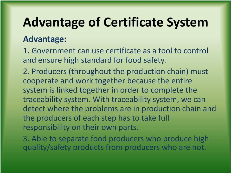 the traceability system.