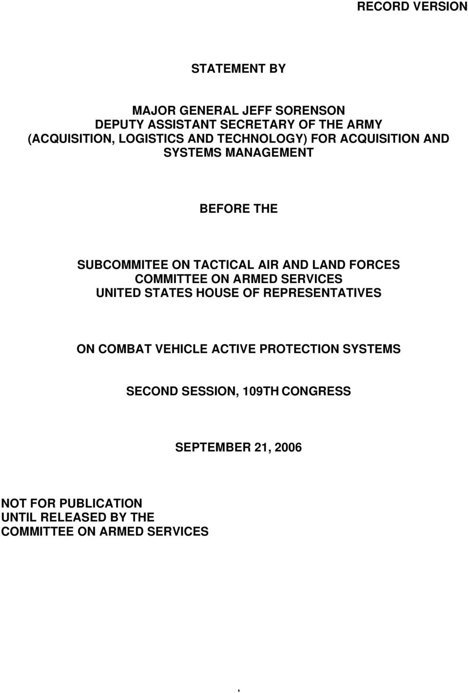 FORCES COMMITTEE ON ARMED SERVICES UNITED STATES HOUSE OF REPRESENTATIVES ON COMBAT VEHICLE ACTIVE PROTECTION