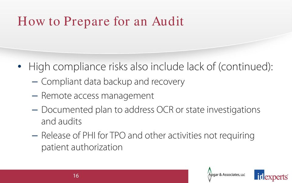 Documented plan to address OCR or state investigations and audits
