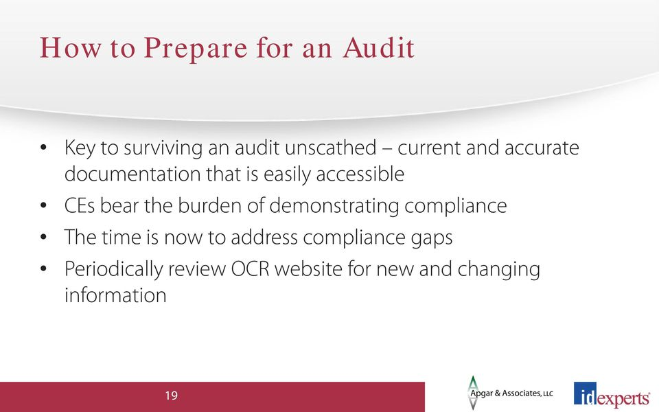 the burden of demonstrating compliance The time is now to address