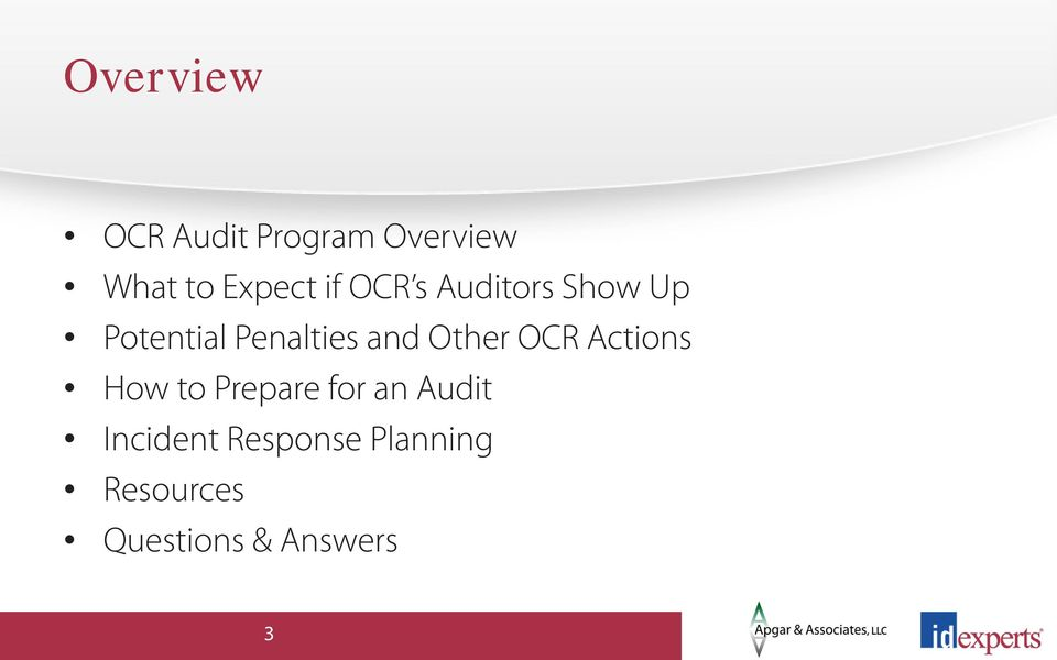 Other OCR Actions How to Prepare for an Audit