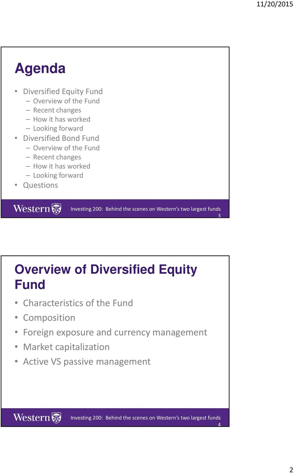 forward Questions 3 Overview of Diversified Equity Fund Characteristics of the Fund