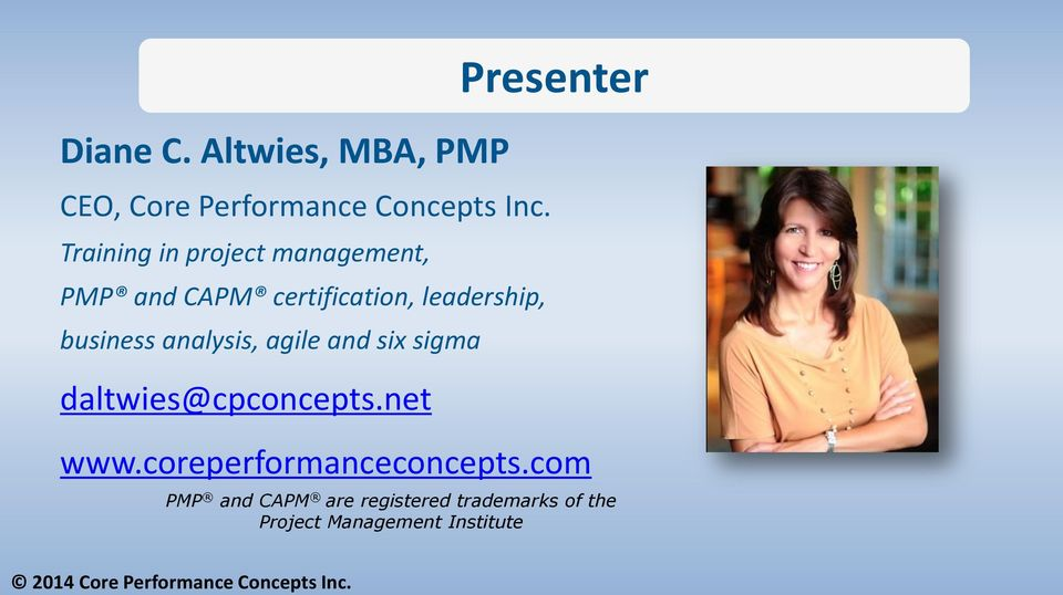 analysis, agile and six sigma daltwies@cpconcepts.net Presenter www.