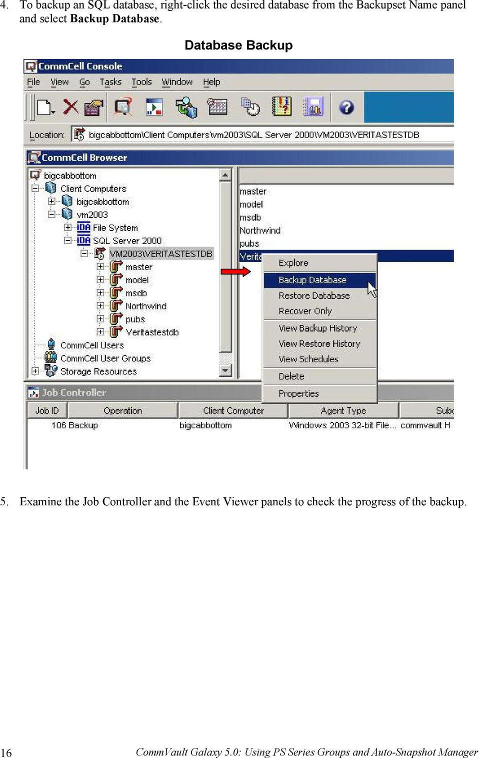 Examine the Job Controller and the Event Viewer panels to check the progress