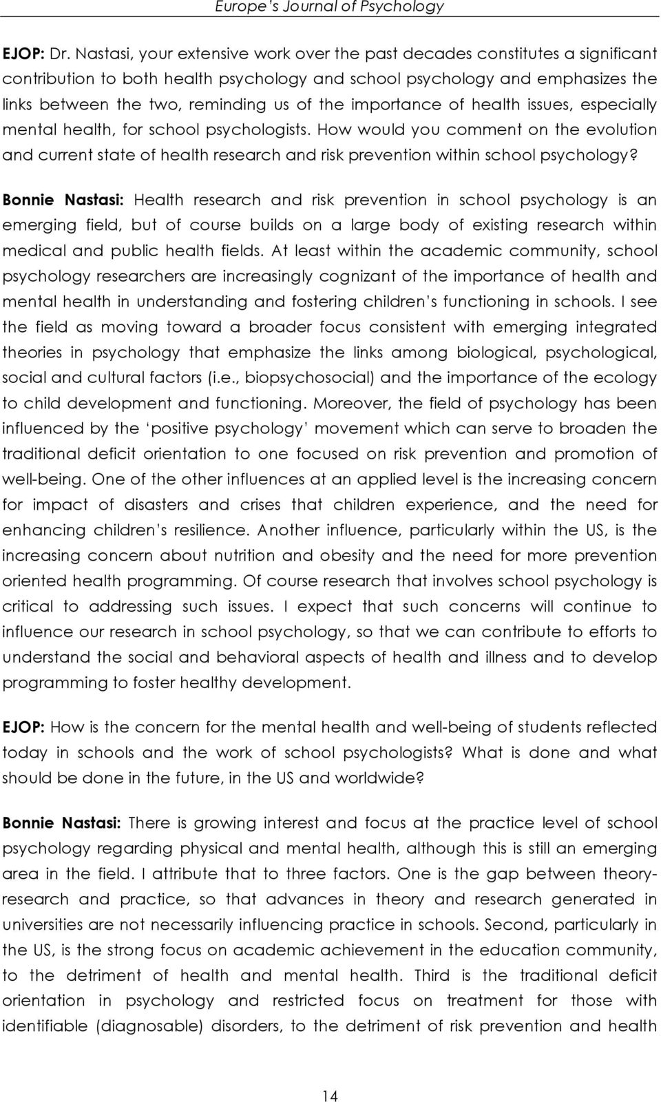 importance of health issues, especially mental health, for school psychologists.