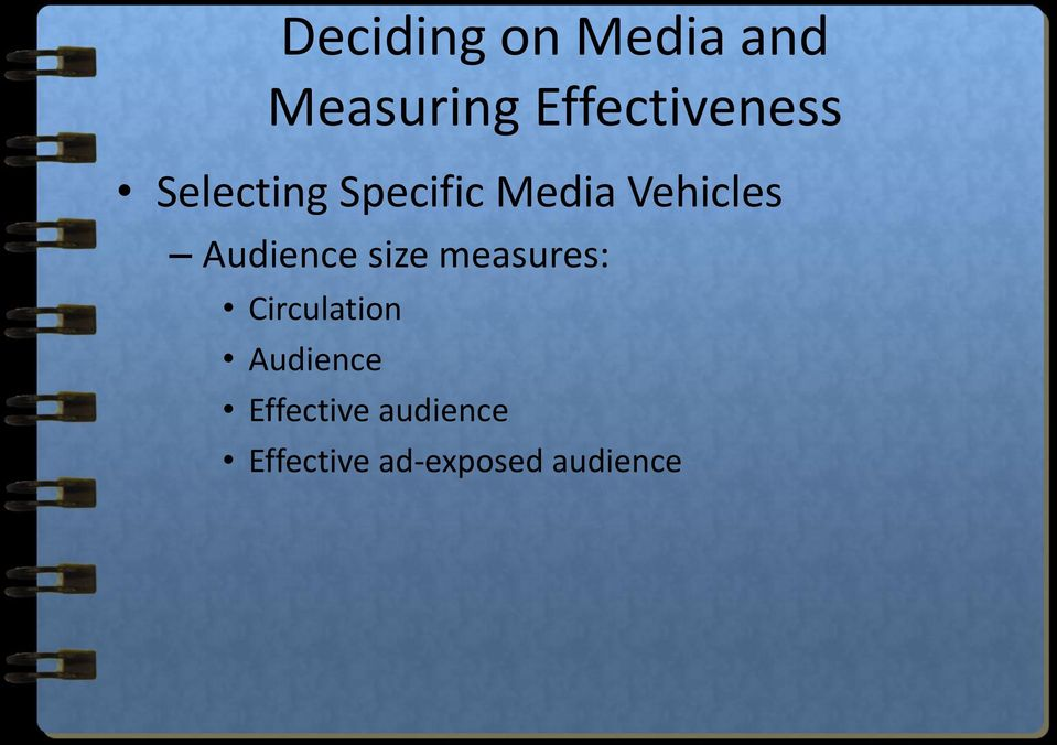 Vehicles Audience size measures: