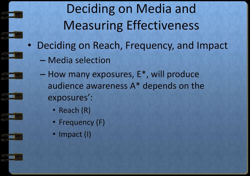 many exposures, E*, will produce audience awareness A*