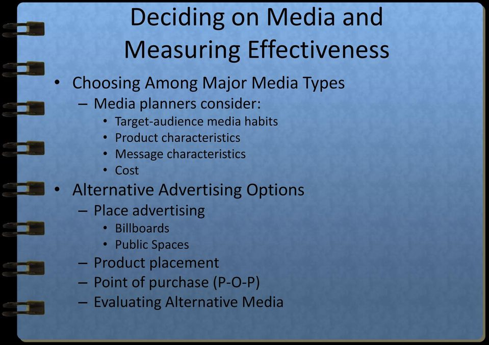 Message characteristics Cost Alternative Advertising Options Place advertising