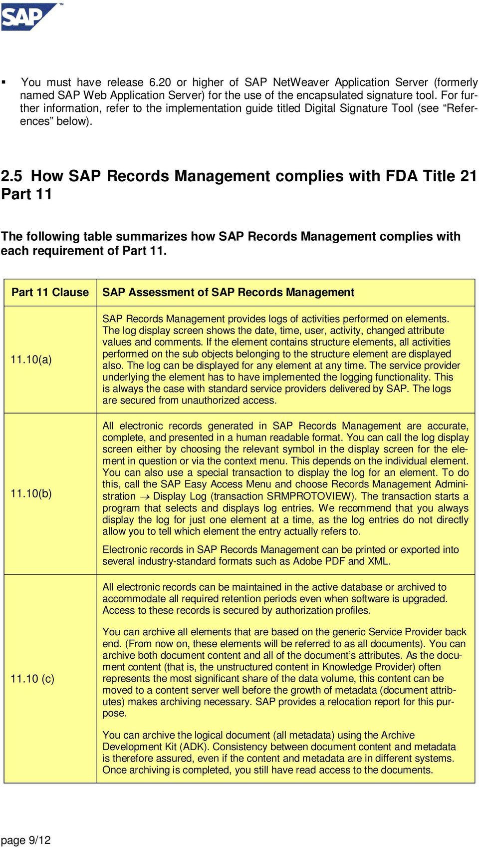 5 How SAP Records Management complies with FDA Title 21 Part 11 The following table summarizes how SAP Records Management complies with each requirement of Part 11. Part 11 Clause 11.10(a) 11.