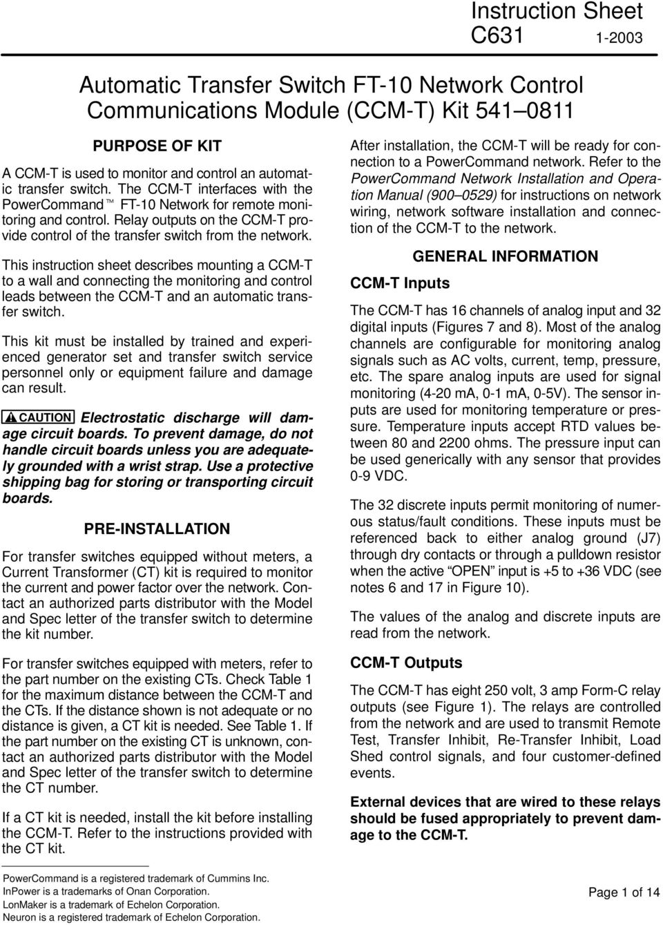 This instruction sheet describes mounting a CCM-T to a wall and connecting the monitoring and control leads between the CCM-T and an automatic transfer switch.