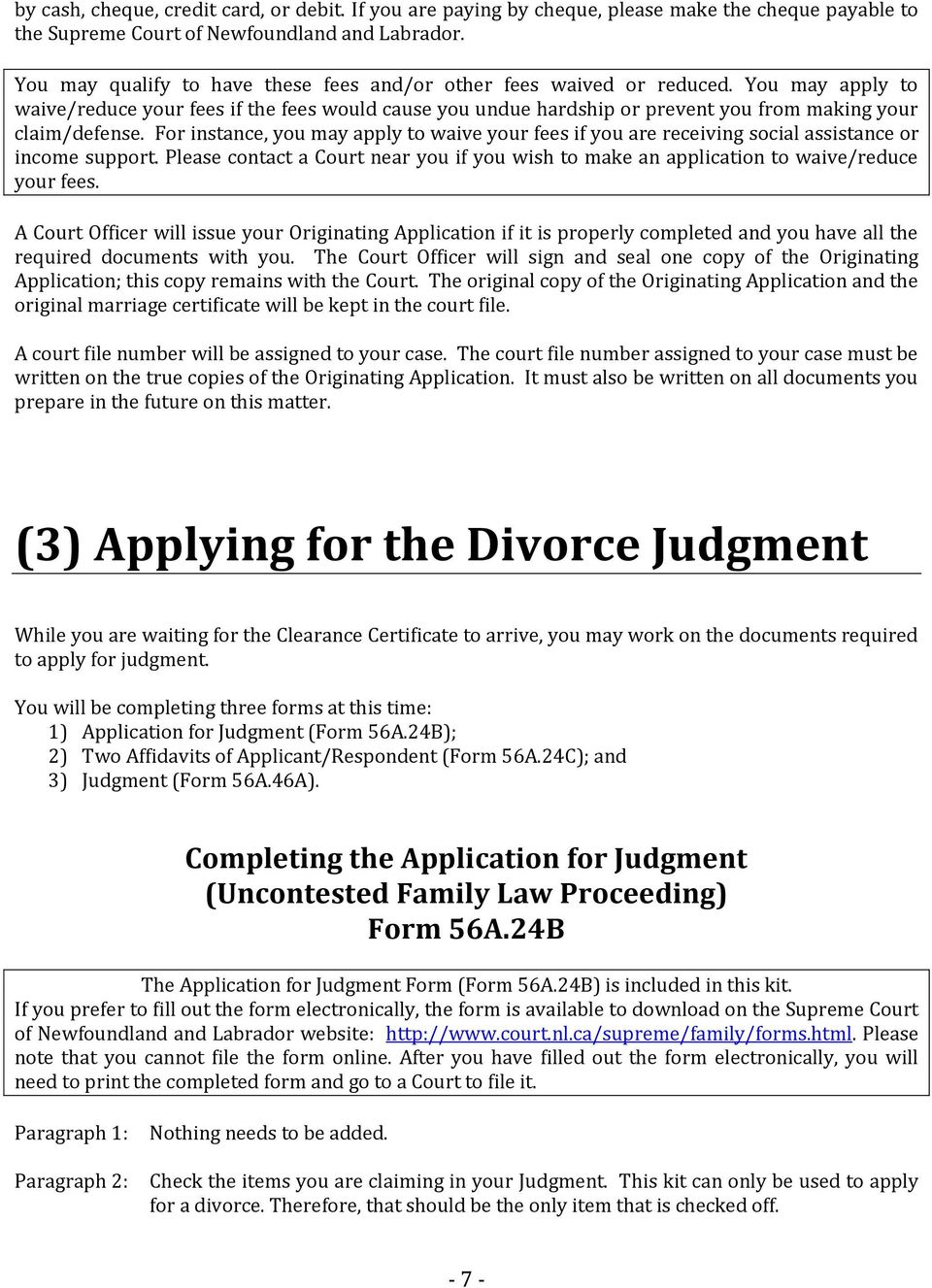Documents required for divorce