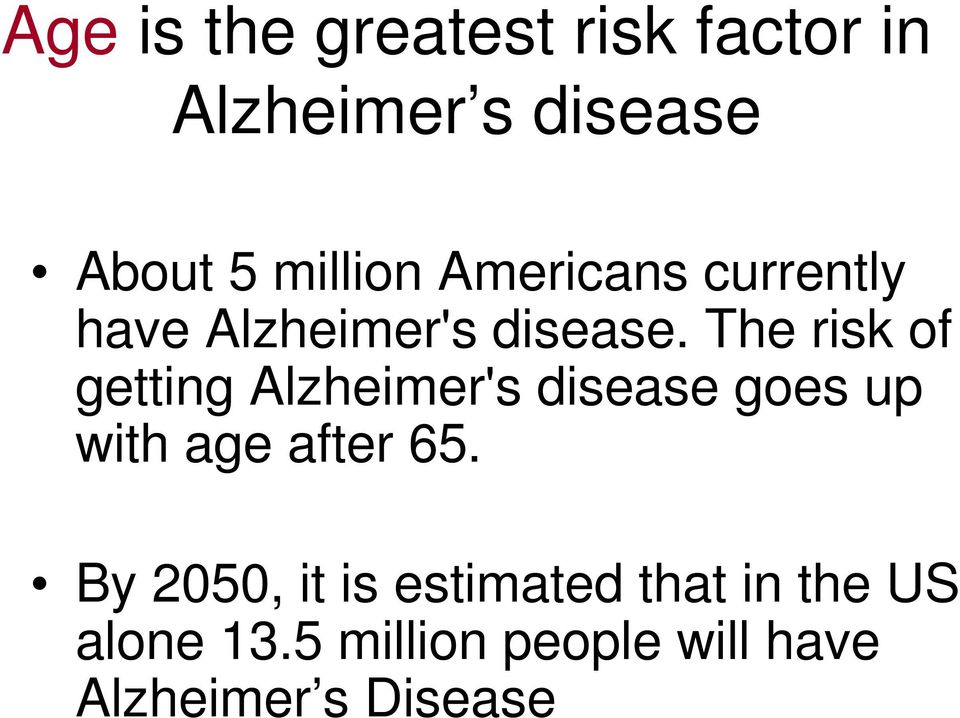 The risk of getting Alzheimer's disease goes up with age after 65.